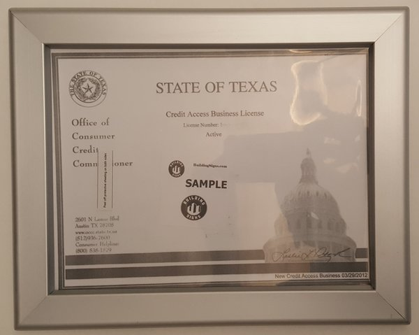 Business License Frame Tx Hpd Signs The Official Store