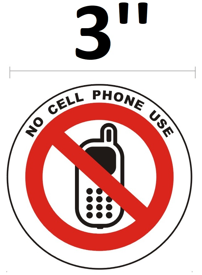no cell phone use sign round circle aluminum signs 3 diameter