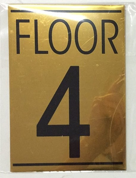 Hpd floor number four 4 sign aluminum sign size for Floor number sign