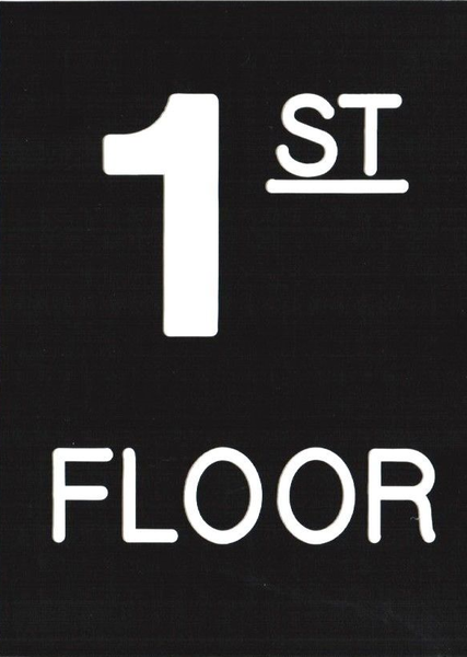 Floor Number 1 Sign Engraved Plastic Hpd Signs The