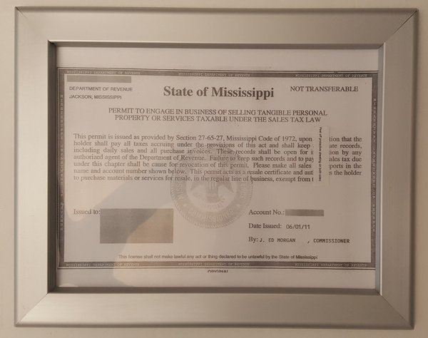Business License Permit State Of Mississippi Frame Hpd