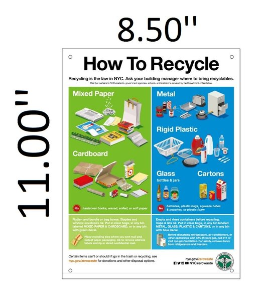 Dsny Sign How To Recycle Sign Aluminium 11x8 5 Hpd