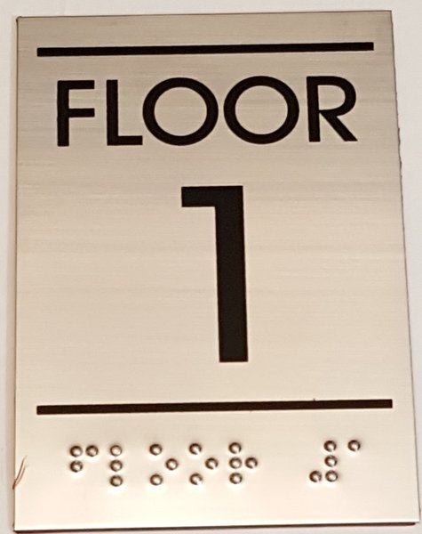 Floor number one 1 sign stainless steel hpd for Floor number sign