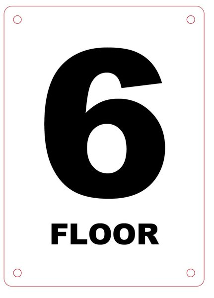 Nyc hpd sign floor number six 6 sign aluminium hpd for Floor number sign