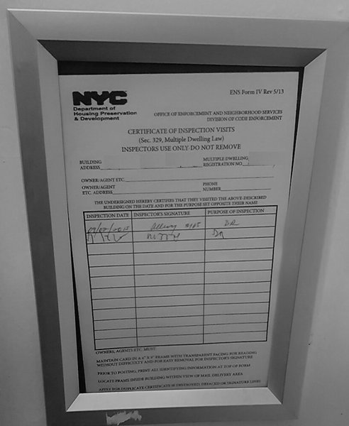 Hpd Post Certificate Of Inspection Visits Frame 6 X 9