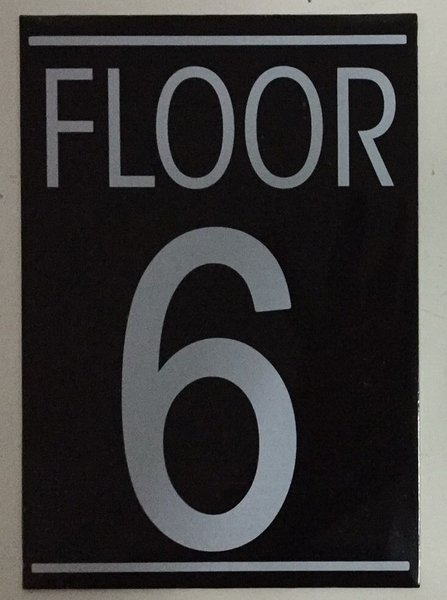 Hpd sign floor number six 6 sign aluminum size for Floor number sign
