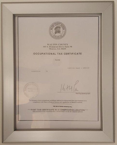 GA Tax Certificate Frame 8.5x11 Heavy Duty