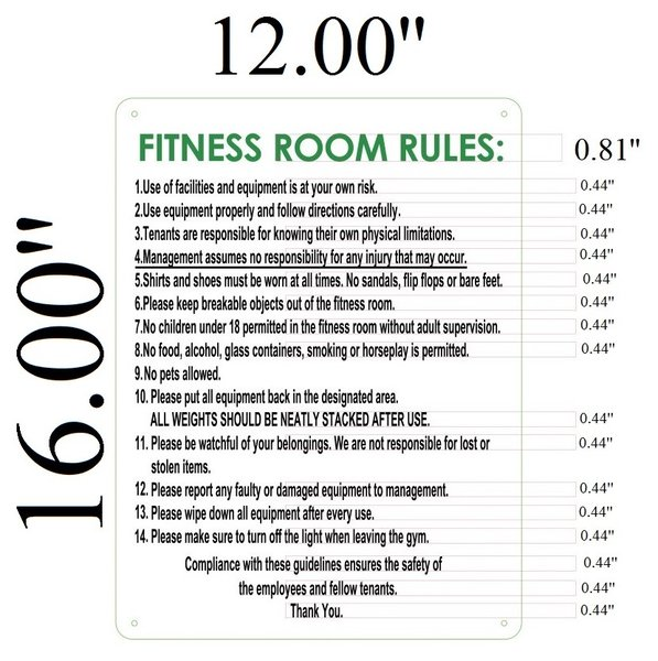 Fitness room rules sign aluminum hpd signs the
