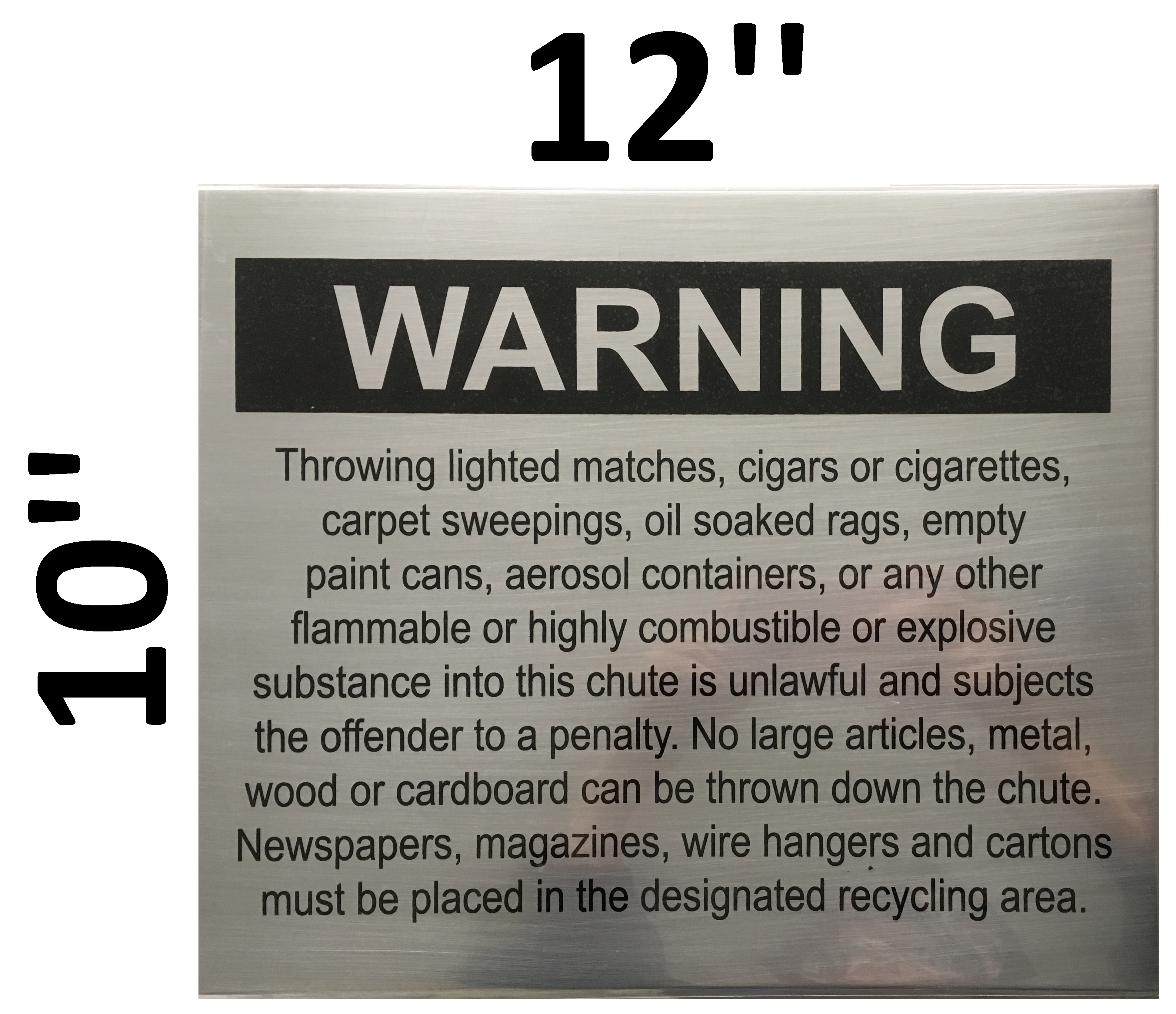 NYC DOB SIGN:Chute warnings-COMPACTOR CHUTE SIGN (SIZE 10\'\'X12 ...