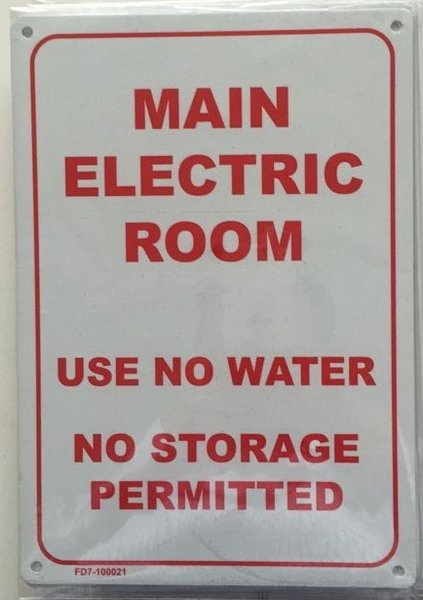 Fdny Sign Main Electric Room No Water No Storage Sign
