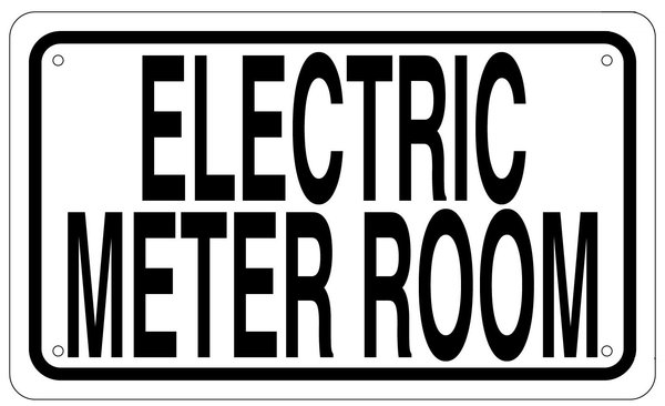 Electric Meter Cans Sign : Electric meter room sign white aluminum hpd