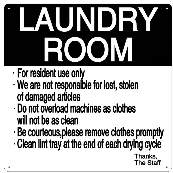 LAUNDRY ROOM RULES SIGN ALUMINUM 14X14
