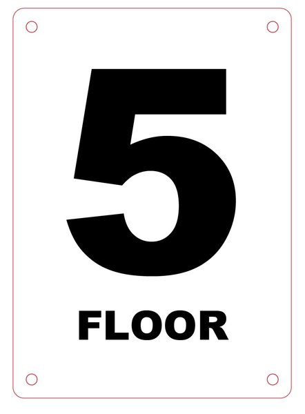 Nyc Hpd Sign Floor Number Five 5 Sign 5x7 Hpd Signs