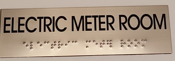 Electric Meter Cans Sign : Electric meter room sign stainless steel hpd