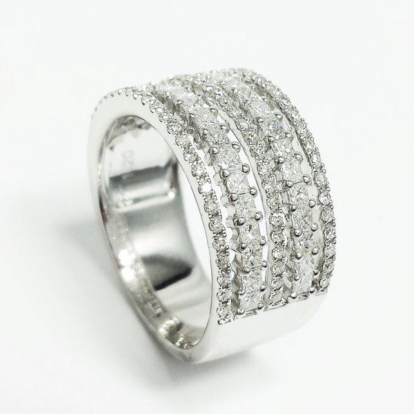 18k White Gold 12 CTW Diamond 5 Band Anniversary Right Hand Ring
