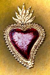 Tin Heart with Gold Finish