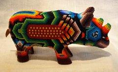 Huichol Beaded Rhino