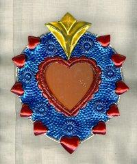 Tin Heart with Mirror - medium (blue)