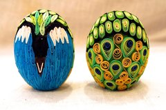 Quilled Eggs - Peacock