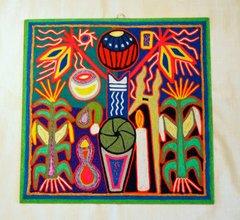 "Yarn painting - Corn stalks (large- 12"" x 12"")"