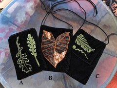Black Velvet Evening Bags - Leaf Theme