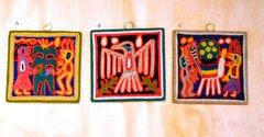 "Yarn Paintings - (smallest - 4"" x 4"")"