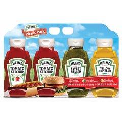 Salsas para Picnic, paquete de 4 unidades Heinz, 2 ketchup, 1 pepinillo dulce, 1 mostaza
