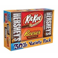Paquete de Variedad de Chocolate de Hershey's Full-Size, 30 Unidades.