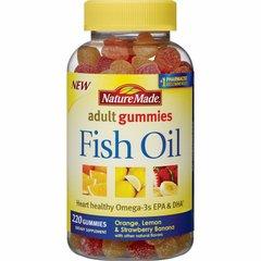 Naturaleza hizo naranja, limón y fresa sabor de plátano aceite de pescado Gummies adultos.