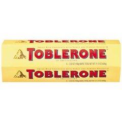 Toblerone chocolate con almendras y miel, caja de 6 unidades.