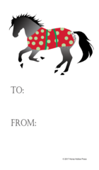 Gift Tag: Gray Horse with Polka Dot Blanket - Item # GT X 200
