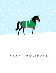 BOXED Christmas Cards: Happy Holidays. Graphic horse in snow - Item # BX Graph