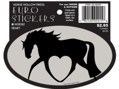 Euro Horse Oval Sticker: Horse with heart Euro Sticker - Item # ES Heart