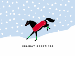 Christmas Card: Bucking Horse in red blanket and green wraps - Item # GC X Buck