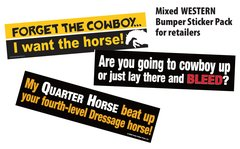 WESTERN Bumper Sticker Retailer Pack - 36 Western and Funny Horse Bumper Stickers - Item # RP-WBS
