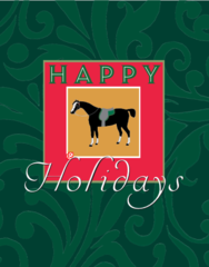 Christmas Card: Antique Horse with Green Filigree Background - Item# GC X AH Black