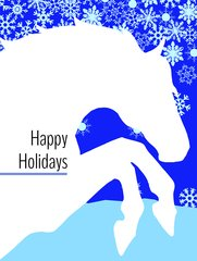 Christmas Card: White Horse with Snow Flakes - Item # GC X White