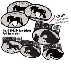 36 English Euro Sticker Retailer Pack - 36 English Horse Euro Stickers - Item # RP-EES