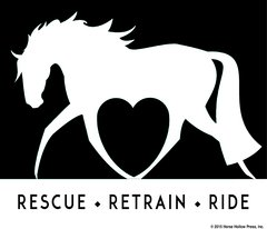 Clear Vinyl Window Sticker: Rescue, Retrain, Ride - Item # D Rescue