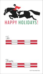 Gift Tag: Jumper with fence rails - Item# GT X Fence
