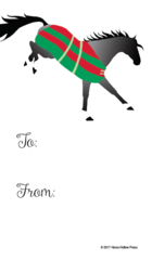 Gift Tag: Gray Horse in Striped Blanket - Item # GT X 201