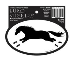 Euro Horse Oval Sticker: Thoroughbred with Wraps Euro Sticker - Item # ES TBwWraps
