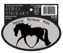 Euro Horse Oval Sticker: Rescue Reride Retrain Euro Sticker - Item # Rescue