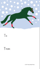 Gift Tags in BULK: Galloping Horse with Red Wraps in Snow - Item # GT X 206 BULK