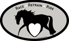 Euro Horse Oval Sticker: Race Ride Retrain Euro Sticker - Item # ES Race