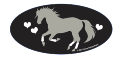 Laptop, Cell Phone & Helmet Sticker: I love horses with hearts - Item # HS ILH