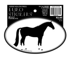 Euro Horse Oval Sticker: Black Warmblood - Item # ES B WB