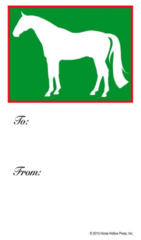 Gift Tags in BULK: White Horse in Green - Item # GT X Green BULK