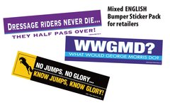 36 Best-Selling English Bumper Sticker Retailer Pack - 36 English and Funny Horse Bumper Stickers - Item # RP-E BS