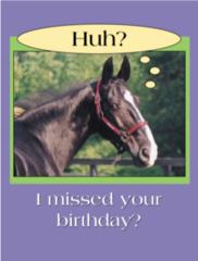 "Birthday Card: Belated Birthday: ""Huh? I missed your birthday?"" - Item # GC Bel"